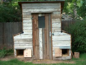 Chicken coop made from reclaimed/recycled materials