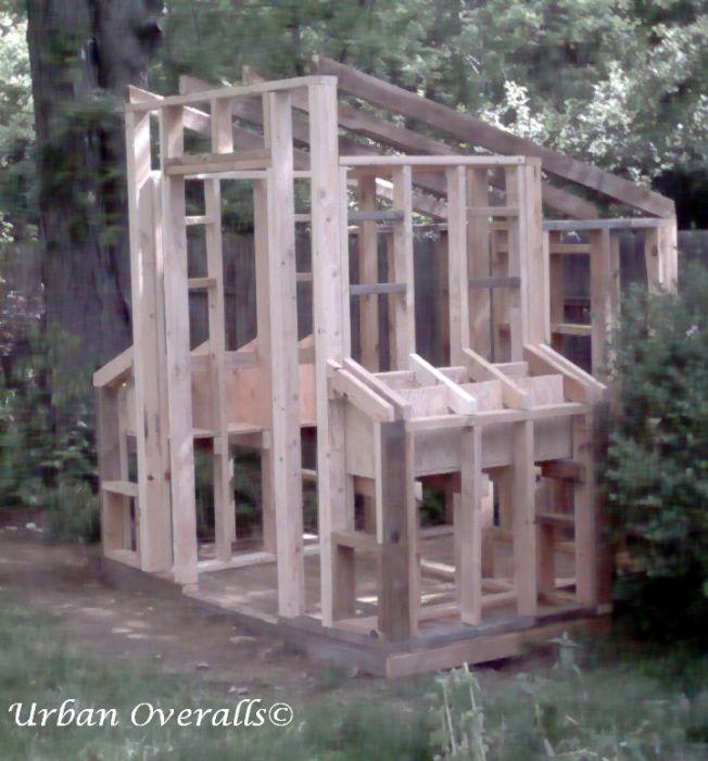 "2"" x 4"" wood frame hen house"