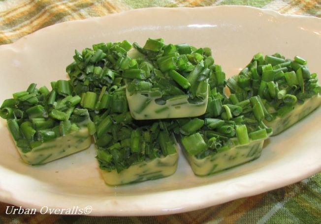 frozen chive & olive oil cubes