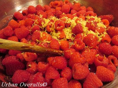 raspberries & lemon zest in preserving pan