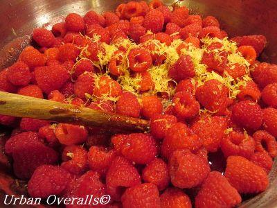 raspberries & lemon zest in preserving pan