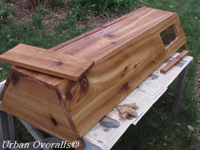 cedar beehive with linseed oil-beeswax finish