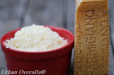 grated parsesan and parmesan rind