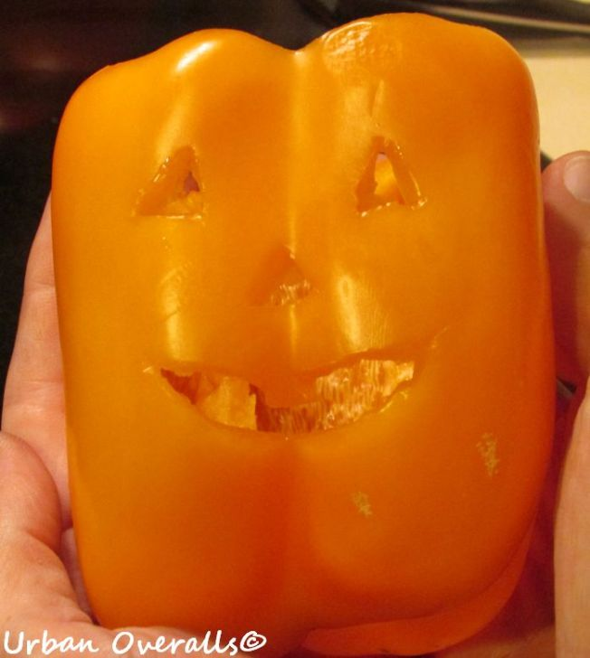 carved jack o' lantern bell pepper